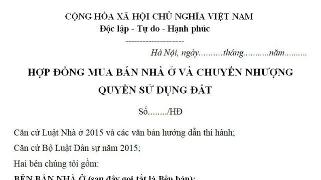 Bán mẫu hợp đồng đặt cọc mua nhà đất tại Hà Nội – luật 24h