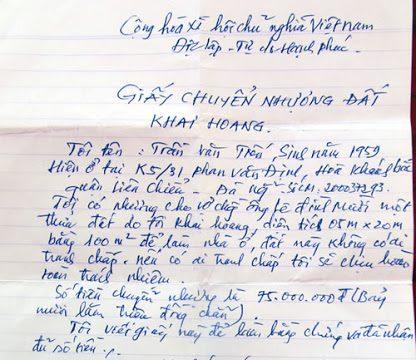 Mua bán đất bằng giấy tờ viết tay có giá trị không? – luật 24h