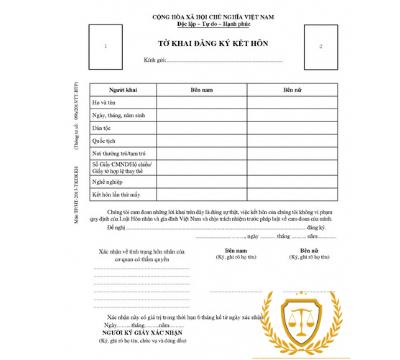 Mẫu tờ khai đăng ký kết hôn – Luật 24h
